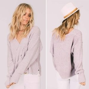 Free Peoplr Lavender Coco V-Neck Braided Sweater